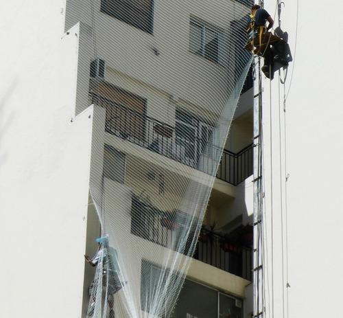 balcón con redes con