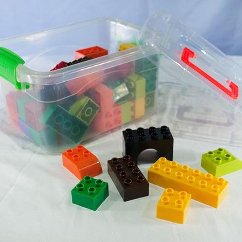 balde block lego 50 piezas grandes set x 2