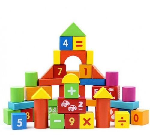 balde bloques construcción cuentas matematicas 40 pcs promo