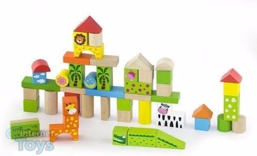 balde bloques madera viga niños 100 piezas