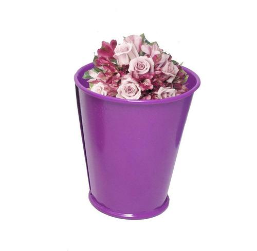 balde cachepot metal festa mesa 15 anos mini roxo kit com 24