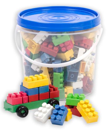 balde com 128 peças - blocos de montar - tampa azul