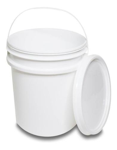 balde com tampa lacre 20 litros - branco - 5 unidades