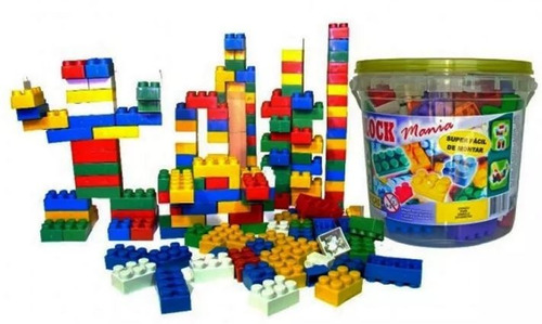balde de blocos de montar com 52 peças brinquedo educativo