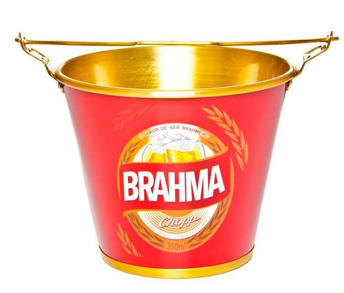 balde de gelo cerveja c/ alça e abridor de garrafa brahma