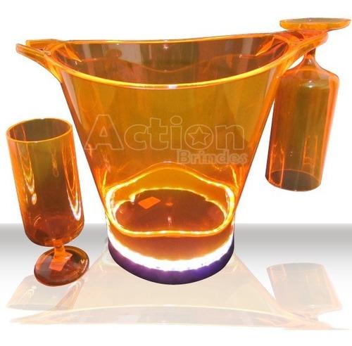 balde de gelo com led + 2 taças laranja