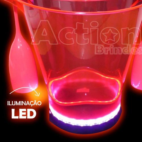 balde de gelo com led + 2 taças pink