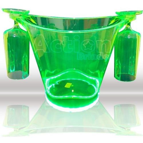 balde de gelo com led + 2 taças verde