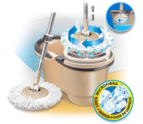 balde escurridor centrifugo + mopa microfibra iberia pronto