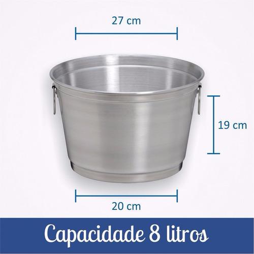 balde para gelo e cerveja de 8 litros em alumínio