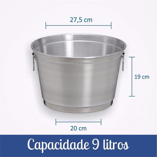 balde para gelo e cerveja de 9 litros de alumínio reforçado