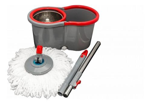 balde spin mop 360° cinza centrifuga inox com 2 esfregão