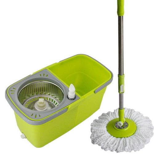 balde spin mop 360 esfregão cesto inox e com divisão - verde
