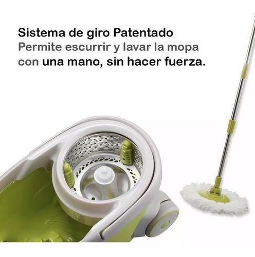 balde trapeador acero automatico escurridor centrifugo + 4 mopas # lampazo piso sin pedal.