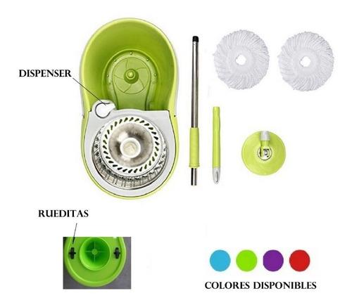 balde trapeador centrifugo escurridor acero c/ ruedas + 2 mopas 960