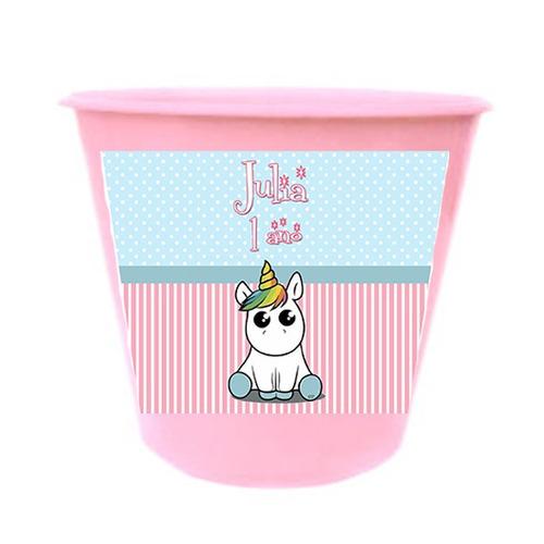 baldinho de pipoca 1l.  kit com 40 unidades unicornio