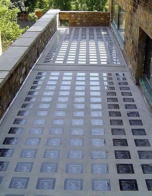baldosa vidrio insoluz claraboya piso techo muro