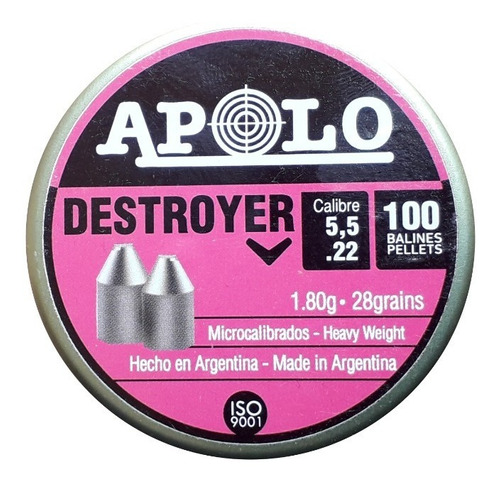 balines apolo destroyer point 5,5 mm x100 punta 1,80 gr