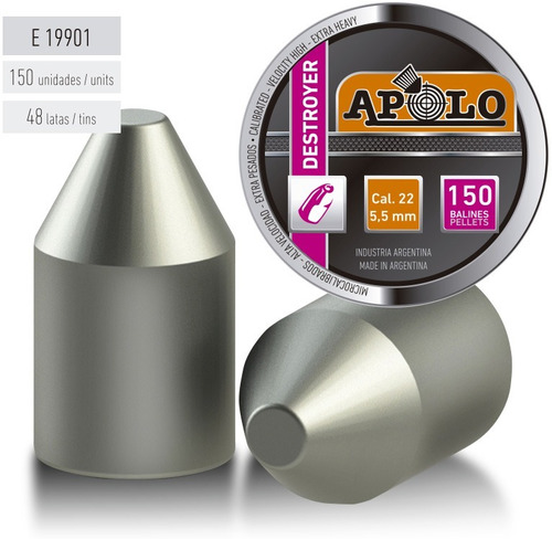 balines apolo destroyer point 5.5 x150 peso: 1,80grs 28g