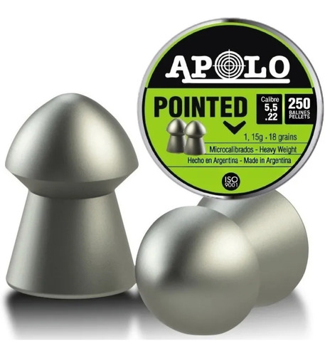 balines apolo pointed 5.5 x250 aire comprimido 18 grains