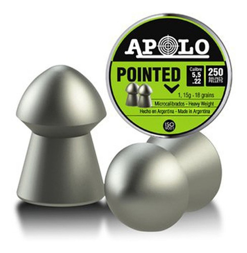 balines apolo pointed cónicos 5.5 mm x250 peso 1,15 grs 18g