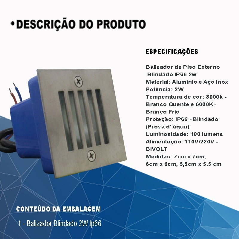 Balizador Piso Escada Parede Externo Blindado 2w Ip66