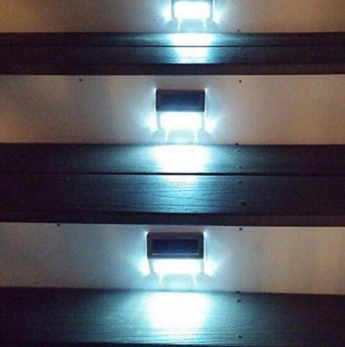 balizador solar alumínio 3 led's parede e escada 6000k ip65