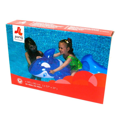 ballena flotador inflable para pileta ideal niños 145 x 80cm
