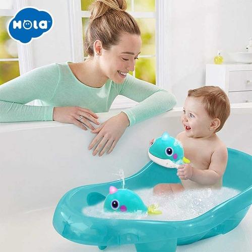 ballena juguete para baño con luz a pila hola 8101 educando