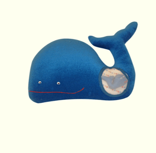 ballena mama con 1 cria imanes muñeco de tela 30cm
