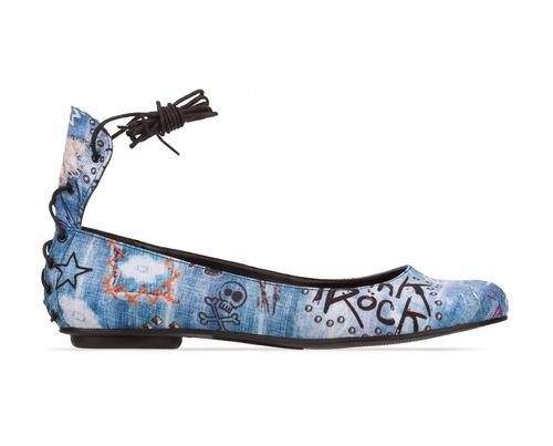 ballerinas andrea urbanas rockeras azules cordones 2396965