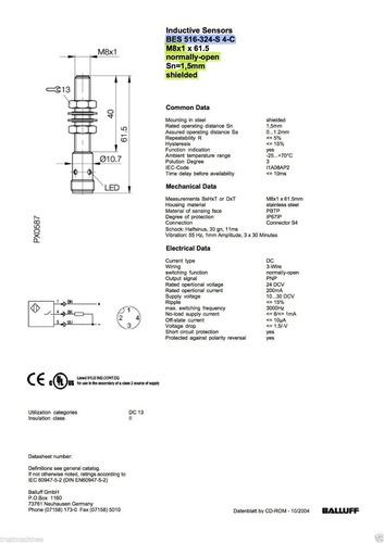 balluff bes 516-324-s4-c; pnp m8x1, sn=1,5mm conector s4/m12