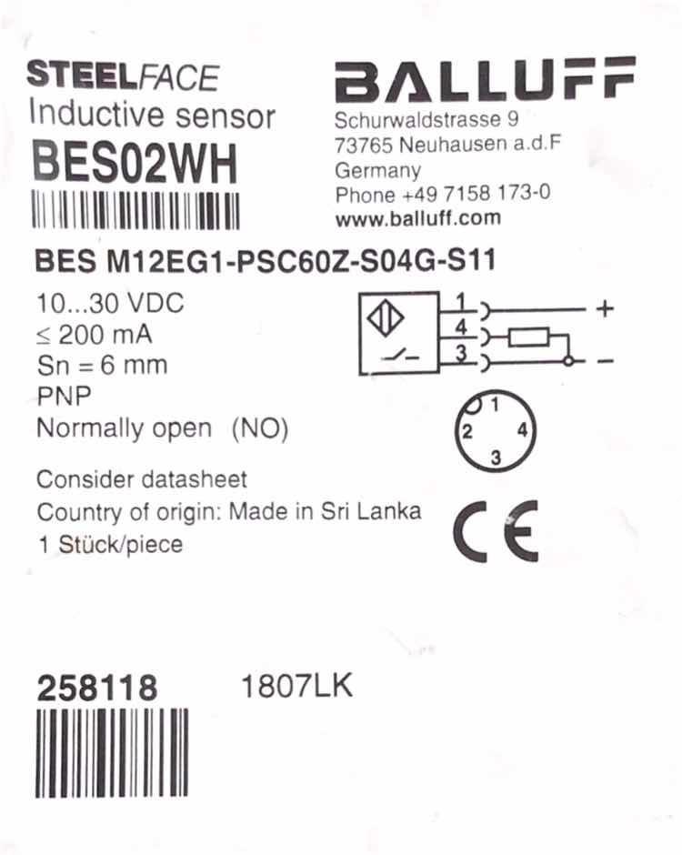 Balluff BES M12EG1-PSC60Z-S04G-S11 Inductive Sensor