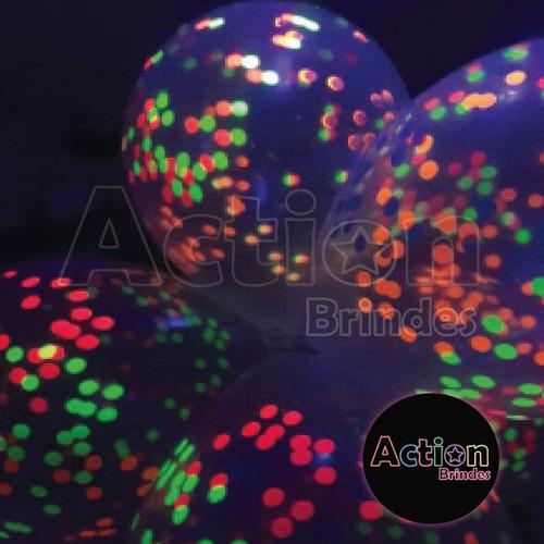 balão bexiga confete de neon nº12 - com 12 unidades