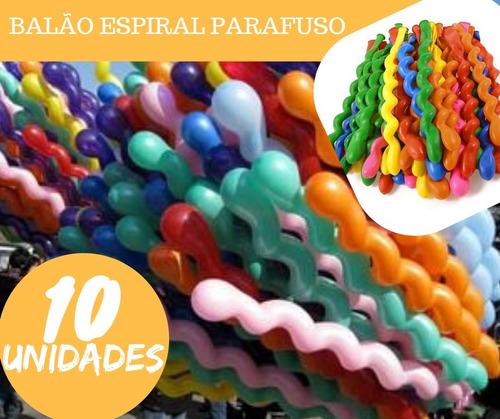 balão espiral parafuso festa decoração bexiga curvo kit 10