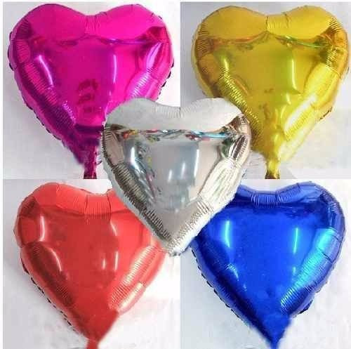 balão metalizado de coração estrela e redondo 45cm