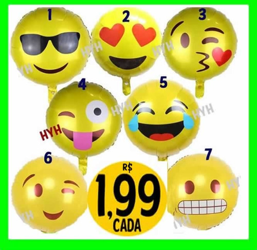 balão metalizado emojis grande emoticon smile whatsapp 45cm