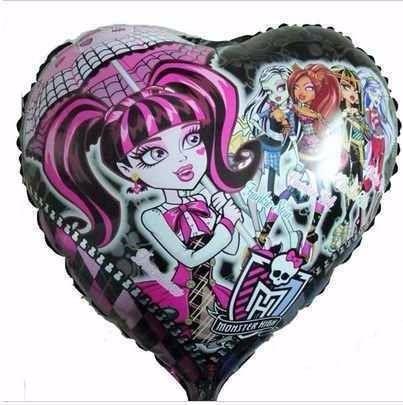 balão metalizado monster high coração - kit/18 unidades