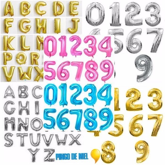 Balão Metalizado Número E Letra Gigante - 1mt (r 9,95) - R  15,95 em ... 2ceddc6af7