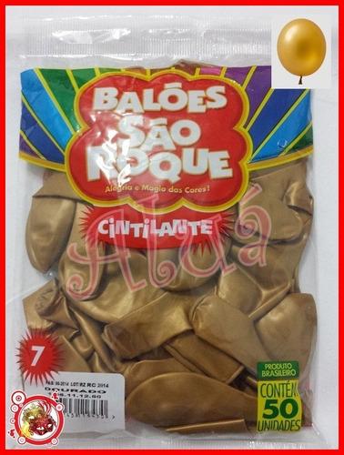 balão são roque nº 07 c/ 50un. 2 dourados + 2 transparentes
