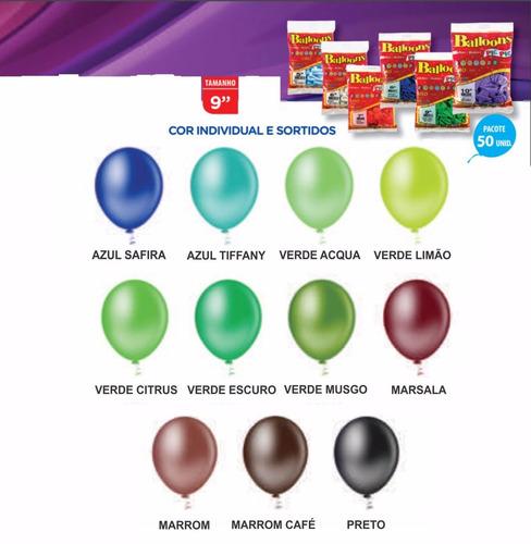 balão/bexiga lisa nº 9 - várias cores - pic pic - 15 pcts