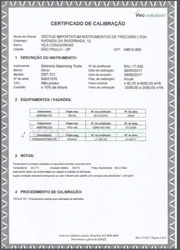 balometer - medidor de vazão de ar ebt-721