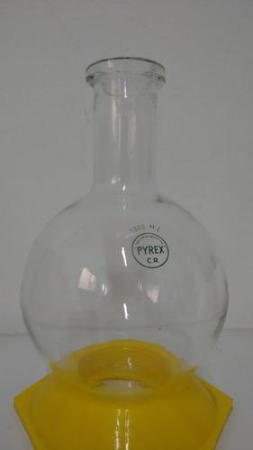 balón de vidrio cuello corto de 2000 ml vidrio pyrex
