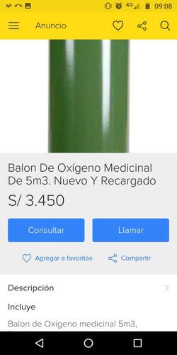 balon lleno de oxígeno 100% medicinal