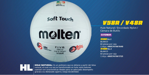balón voleibol molten v58r hule natural