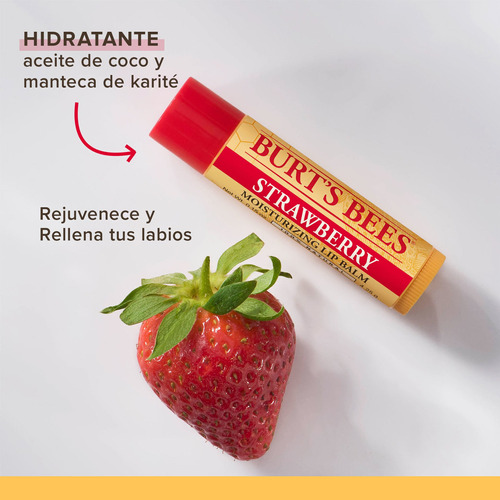 bálsamo labial burts bees strawberry lipbalm x12