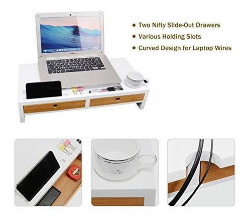 Stylish and x Monitor Riser Stand Desk Shelf with Drawer and Keyboard Storage