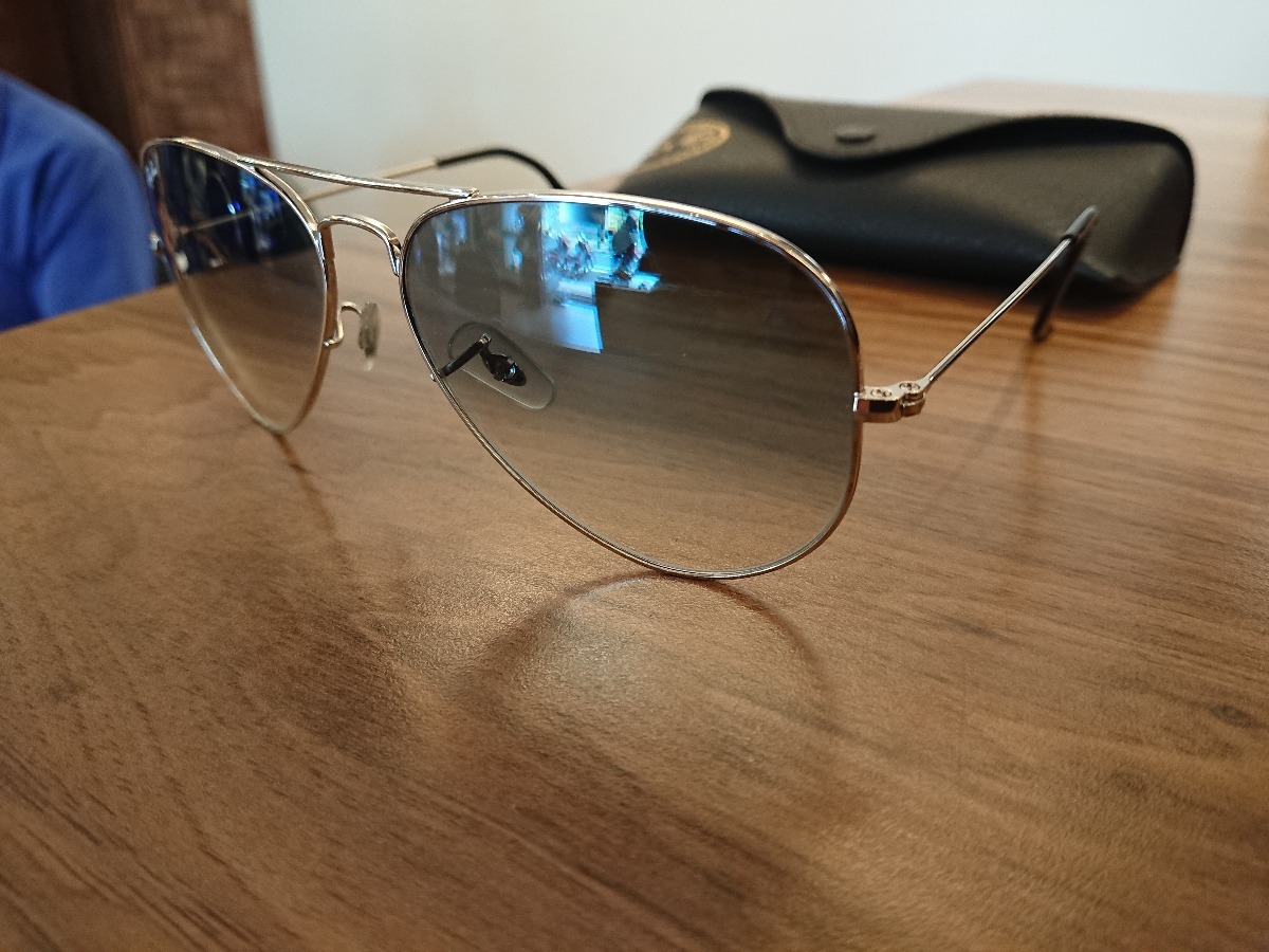 Oculos Ray Ban Aviator Lente Degrade Azul Tam. 58 Original - R  250 ... 543f5456a2