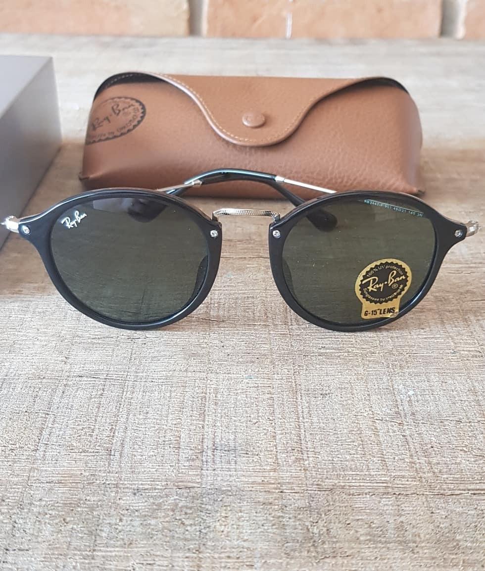 Óculos Ray Ban Round Fleck Preto G15 Verde Escuro 2447 - R  360,00 ... 5265636f89