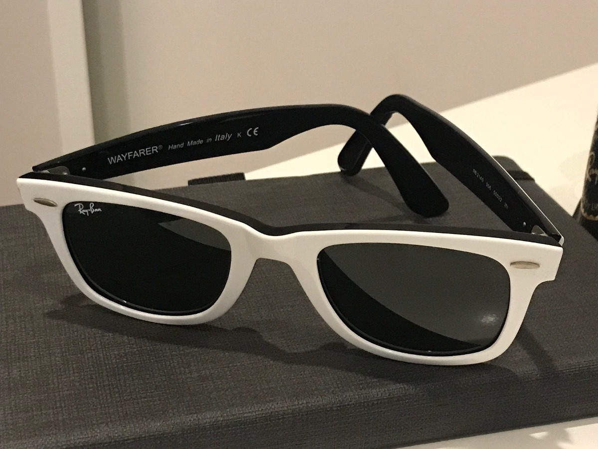 296c11214b329 Óculos Ray Ban Wayfarer - Rb2140 50-22 - Branco Com Preto - R  150 ...